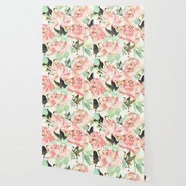 Floral Cranes Wallpaper