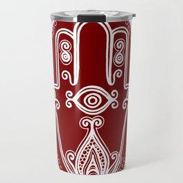 Red Hamsa Hand Travel Mug