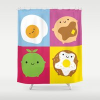 kawaii Shower Curtains featuring Kawaii Breakfast by Marceline Smith