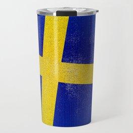 Swedish Distressed Halftone Denim Flag Travel Mug