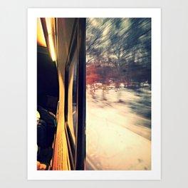 train car on a snowy day Art Print