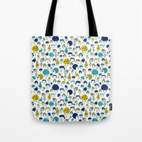 faces Tote Bags featuring Faces by Sahily Tallet Yip