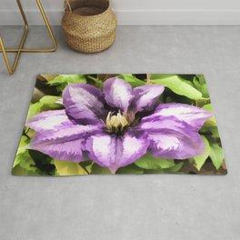 Painted Purple Flower - Clematis Rug