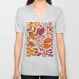 Watercolor branches and leaves - orange and purple Unisex V-Neck