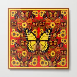 COFFEE BROWN MONARCH BUTTERFLY SUNFLOWERS Metal Print