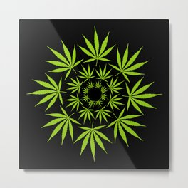 Cannabis Leaf Circle (Black) Metal Print