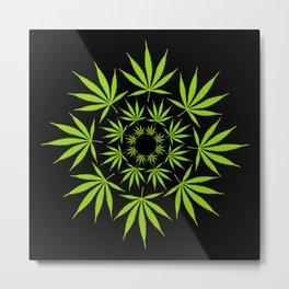 Cannabis Leaf Circle Modern Graphic Illustration Art Metal Print