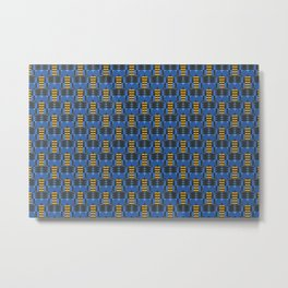 Sixties inspired pattern with circles and ellipses in blue Metal Print