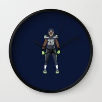 seahawks Wall Clocks featuring Twelfth Man - Richard Sherman by IllSports