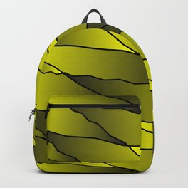 Slanting repetitive lines and rhombuses on iridescent yellow with intersection of glare. Backpack