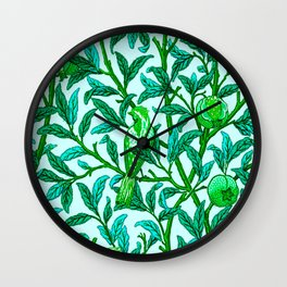 Art Nouveau Bird and Pomegranate, Turquoise Wall Clock