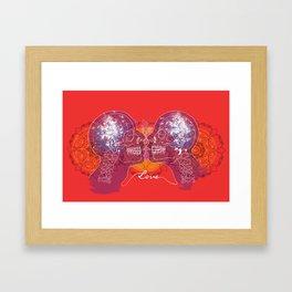 Cosmic Love - Red Framed Art Print