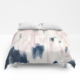 Blush Pink and Blue Pretty Abstract Comforters