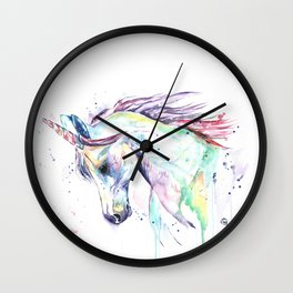 Colorful Unicorn Watercolor Painting - Kenzie's Unicorn Wall Clock