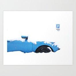 THE BLUE CAR Art Print