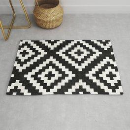 Urban Tribal Pattern No.17 - Aztec - Black and White Concrete Rug