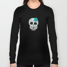Adorable Teal Blue Day of the Dead Sugar Skull Owl Long Sleeve T-shirt