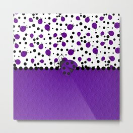 Purple Ladybugs and Purple Dots Metal Print