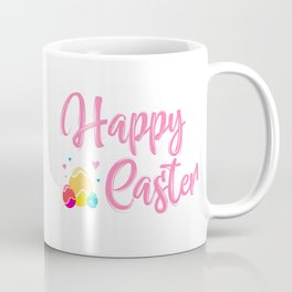 Happy Easter Typography - Easter Eggs with Hearts Coffee Mug