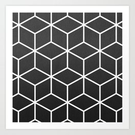 Charcoal and White - Geometric Textured Cube Design Art Print