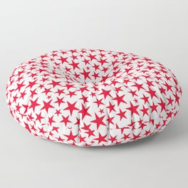 Red stars on white background illustration Floor Pillow