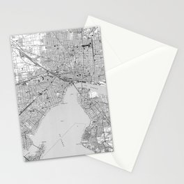 Vintage Map of Jacksonville Florida (1950) BW Stationery Cards