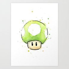 1UP Green Mushroom Painting Mario Gaming Geek Videogame Art Art Print