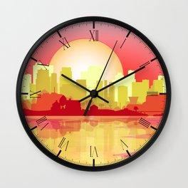 City At The Dusk Wall Clock