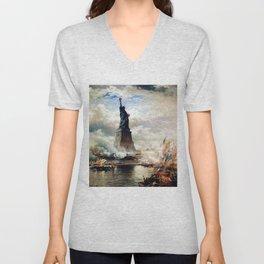 Statue of Liberty Unveiled by Edward Moran Unisex V-Neck