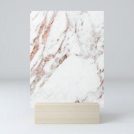 Rose gold foil marble Mini Art Print