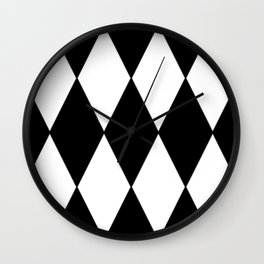 LARGE BLACK AND WHITE HARLEQUIN DIAMOND PATTERN Wall Clock