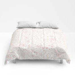 Floral Pattern Pink on White Comforters
