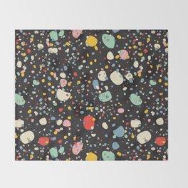 modern scandinavian multi-colour pebbles black Throw Blanket