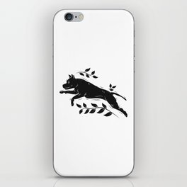Jumping Dog With Leaves –black palette iPhone Skin