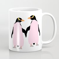 lesbian Mugs featuring Gay Pride Lesbian Penguins Holding Hands by mailboxdisco