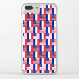 Mix of flag : france and usa Clear iPhone Case