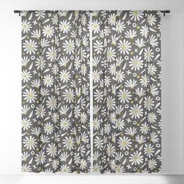Daisies – White on Black Sheer Curtain