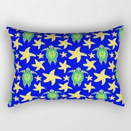 Water turtles and starfish whimsical cute marine tribal ethnic artistic ocean blue yellow pattern Rectangular Pillow