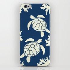 Sea Turtles on Indigo Linen iPhone Skin