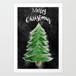 Christmas Tree Watercolor Art Art Print