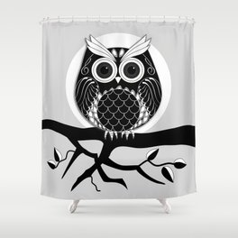 Graphic vector owl on branch in B&W Shower Curtain