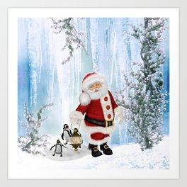 Santa Claus with funny penguin Art Print
