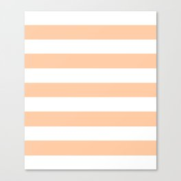 Peach - solid color - white stripes pattern Canvas Print