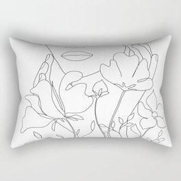 Minimal Line Art Summer Bouquet Rectangular Pillow