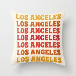 Los Angeles - retro vibes throwback minimal typography 70s colors 1970's LA Throw Pillow