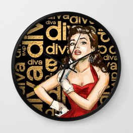 Retro Pinup Girl & Diva Typography Wall Clock