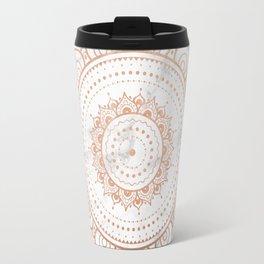 Mandala - rose gold and white marble Travel Mug