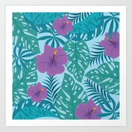 Tropical Pink Flower Design With Lush Green Ferns Art Print