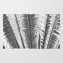 Black and White Modern Tropical Palm Fronds Rug