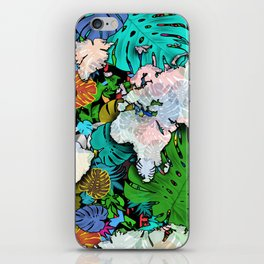 world map tropical leaves 3 iPhone Skin